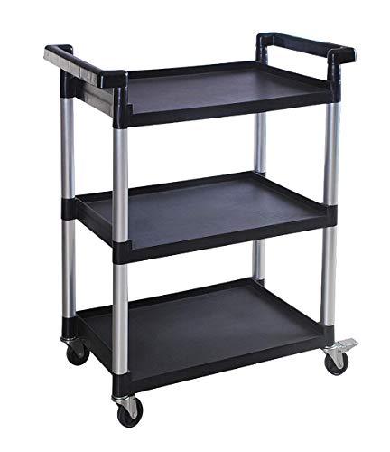 MaxWorks 80774 3-Shelf Utility Plastic Cart with Wheels-225 Lbs Maximum Capacity (Renewed)