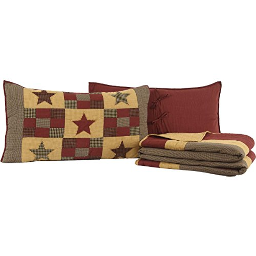 VHC Brands Primitive Bedding Quilt Set, King, (Primitive Log)