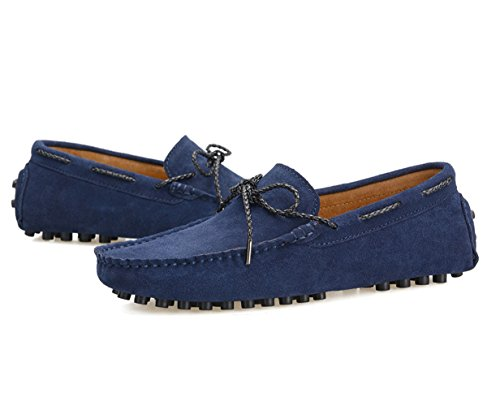 Icegrey Men's Lace Up Driving Moccasin Slipper Loafer Blue 44 xsh04NxI