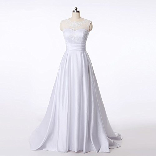 Grace Satin with Lace Long Bridal Wedding Dresses White