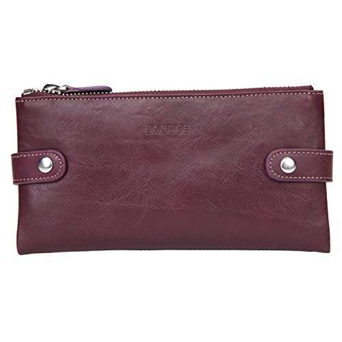 Banuce Soft Genuine Leather Bifold Wallet for Women Cell Phone Slim Clutch Purse Zip Wallet Card Holder by Banuce