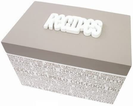 Splosh – Beige y blanco caja de receta/receta organizador – con el texto en relieve receta – incluye tarjetas de recetas – Tapa con bisagra: Amazon.es: Hogar