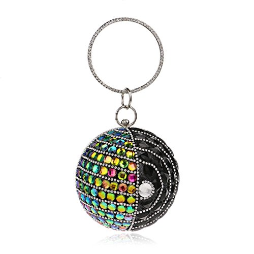 Round Handbags Multicolor Evening Ball Clutch 2 Purse Multicolor Color 2 Party Women's KERVINFENDRIYUN Bag q6SER