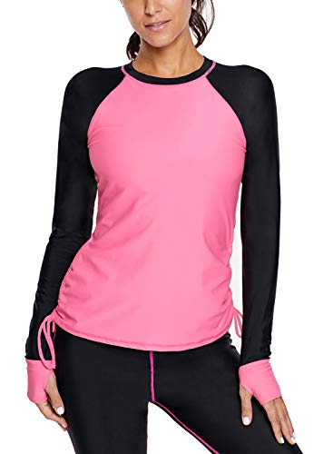 Asvivid Womens Printed Crew O Neck Rashguard Side Adjustable Quick-Dry Shirt Slimming Athletic Bathing Suit Plus Size 2X Rose