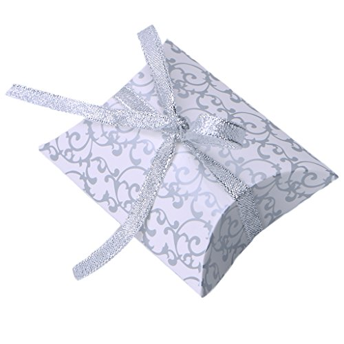 Candy Box Ohtop 50 Pcs European Style Pillow Shape Printing Gift Candy Box Decor Wedding Party  Silver
