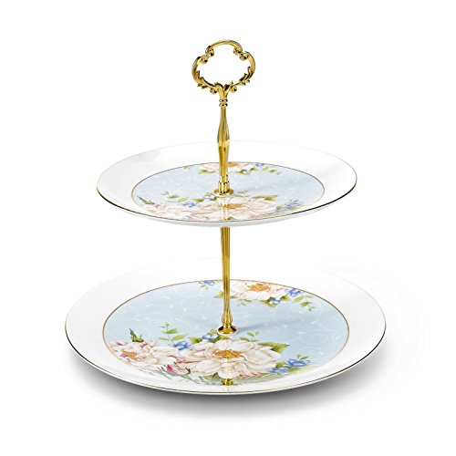 Panbado Bone China 2 Tier Cake Stand Tower Dessert Cupcake Fruit Stand, 8