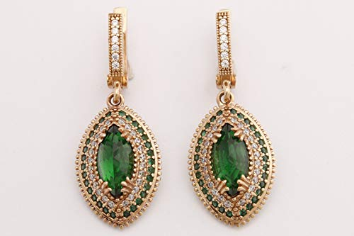 Turkish Handmade Jewelry Marquise Shape Emerald and Round Cut Topaz 925 Sterling Silver Dangle/Drop Earrings