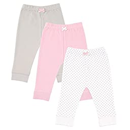 Luvable Friends Baby Girls\' 3 Pack Tapered Ankle Pant 0-3, Pink/Gray, 0-3 Months