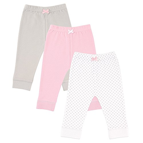 Luvable Friends Baby 3 Pack Tapered Ankle Pants, Pink/Gray, 18-24 Months