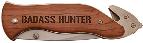 Personalized Gifts Deer Hunter Gift Badass Hunter Deer Duck Hunt Laser Engraved Stainless Steel Folding Survival Knife