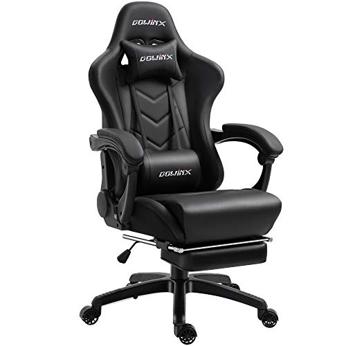 Dowinx Gaming Chair Ergonomic Racing Style Recliner with Massage Lumbar Support, Office Armchair for Computer PU Leather E-Sports Gamer Chairs with Retractable Footrest (Black&Purple)