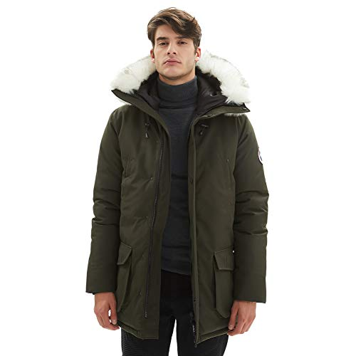 PUREMSX Winter Military Jacket for Men with Fur, Super Thick Jackets Casual Warm Arctic Hooded Heavy Waterproof Lined Parka Jacket Coat for Cold Weather,Army Green,Medium