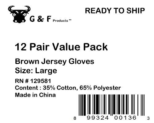 G & F Heavy Brown Work Knit Sold by Dozen Large