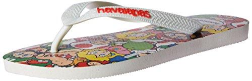 Havaianas Women's Mario Bros Flip Flop Sandal,White, 37/38 BR(7-8 M US Women's / 6-7 M US -