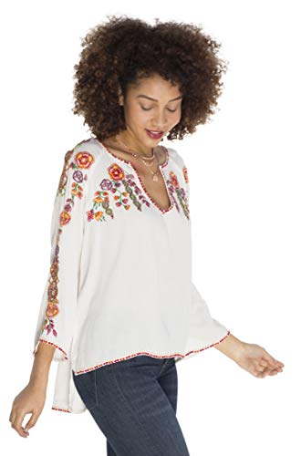 SOIZZI Boho Embroidery Women Tops Blouses, 3/4 Sleeve Boho Style Print Blouse Shirt, (White, Medium)