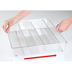 mDesign BBQ Grill Accessories Expandable Drawer Organizer for Cooking Utensils - Clear