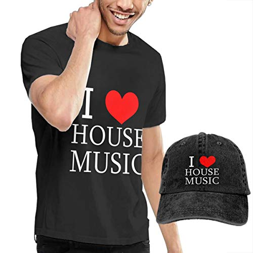 Men's Short Tee I Love House Music Crew Neck T-Shirts and Baseball Cap Cotton Sleeve Shirts with Cowboy Peaked Hat -