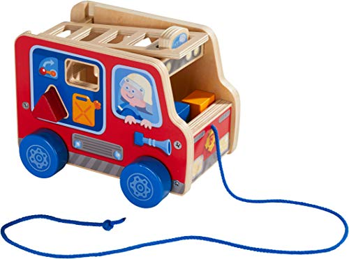 HABA Pulling Figure Fire Engine - Wooden Shape Sorter & Pull Toy with 4 Shapes and Removable Ladder for Ages 1+