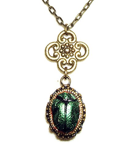 scarab-beetle-necklace-egyptian-revival-metallic-green-wings-pendant-vintage-style