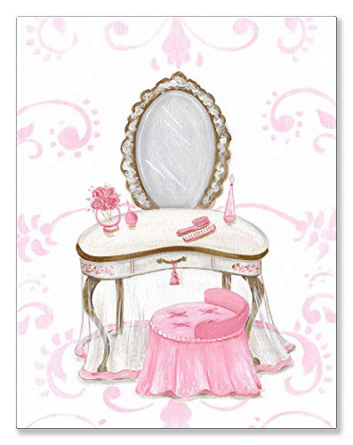 Oopsy Daisy Little Princess Vanity Canvas Wall Art, 14x18, Pink (Vanity Daisy Set)