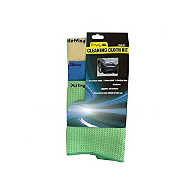 Simply CLE005 Car Home Wash and Dry Cleaning Cloth Kit, 40 x 40 cm, Set of 3: Automotive