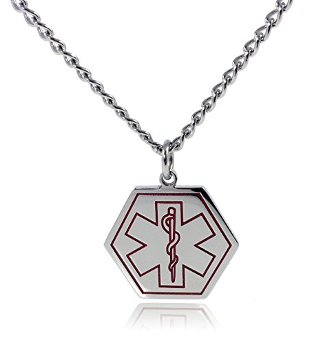 Type 2 Diabetes Necklace Medical Alert ID Stainless Steel Pendant with 26