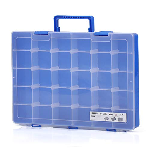 Festnight Toy Storage Box 30 Grids Portable Plastic Organizer Carrying Case Jewelry Arts Crafts Collectibles Multiple Compartments Slot Hardware Cabinet Tools Carrying Handle Adjustable Dividers