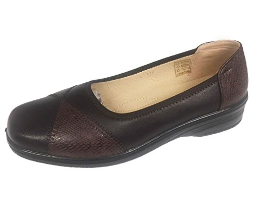Loafer On Moccasin Womens Office Shoes Slip Patent KOLLACHE Ladies Comfort Brown Walk Balrina Snake 4zwqz5ET