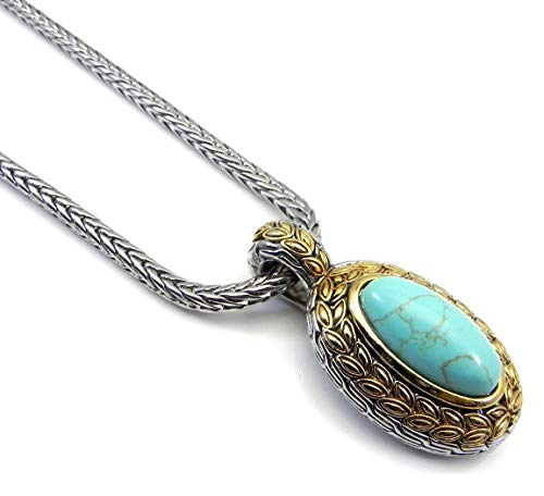 Real Imposters Bali Inspired 2-Tone Rhodium Oval Simulated Turquoise Chain & Slider-Pendant