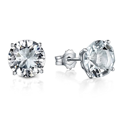 Voila Reve Stud Earrings White Gold Plated Sterling Silver Earrings Shining Life As Diamond Made with Swarovski Crystals for Women