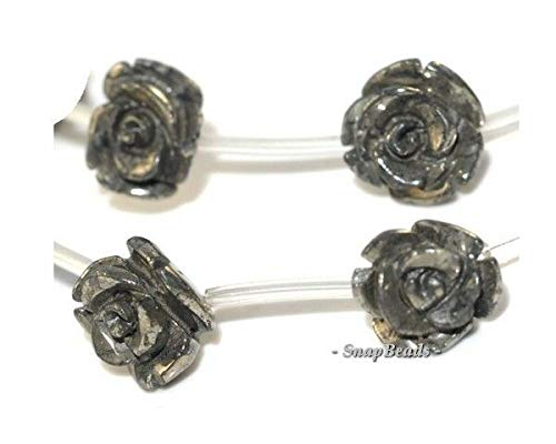 Palazzo Iron Pyrite Gemstone Carved Flower Flora Rose 14MM Loose Beads 6