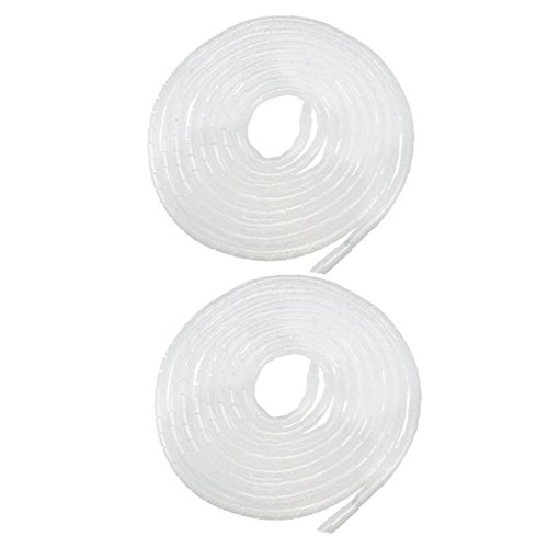 uxcell 2pcs 14mm Flexible Spiral Tube Cable Wire Wrap Computer Manage Cord White 4.5-6M 18' Polyethylene Sleeve