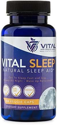 Vital Sleep Aid | Natural Supplement | Adult Nighttime Non Habit Forming Sleeping Pills with Melatonin, Magnesium, Passionflower, Valerian, Chamomile - 60 Gluten Free, Non GMO VCaps