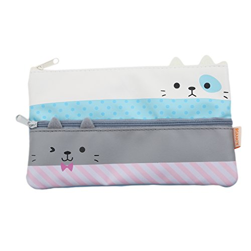 HENGSONG Women Girls Cat Shape Makeup Pouch Cosmetics Bag Key Bag Coin Purse Stationery Case Pencil Case with Zipper Gifts (Grey) -