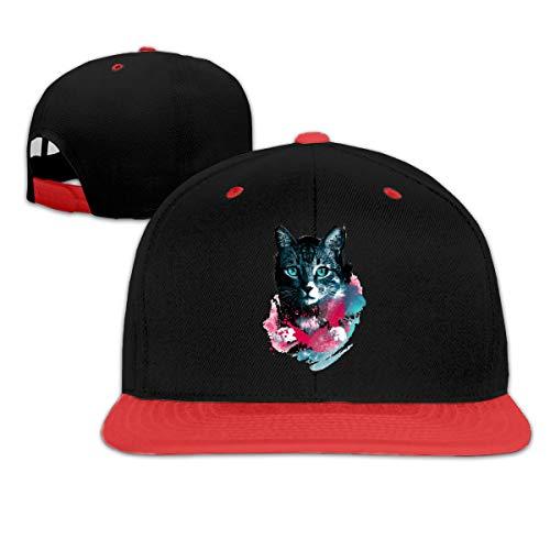 Jskllyhu Rock Punk Baseball Cap Space Cat Unisex Trucker Hat Hip-Hop Snapback Red