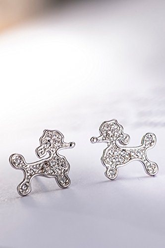 KENHOI Beauty thai love you puppy micro pave earrings earings dangler eardrop s925 sterling silver accessories women girls korean woman gift creative personality creative gift by KENHOI Beauty