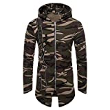 REYO Men's Jacket Winter Camouflage Hooded Zipper Coat Jacket Cardigan Long Sleeve Outwear Blouse
