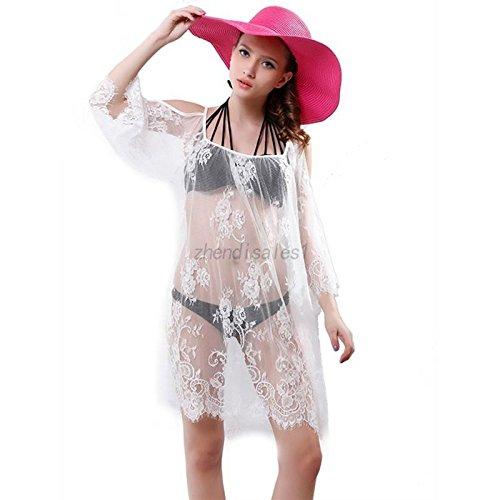 Bianco Pizzo Abbigliamento Di Crochet Costumi Bagno Pizzo M M Da Bikini Da Coprire Costume Spiaggia Bagno Bianco Casual Donne RTS4w
