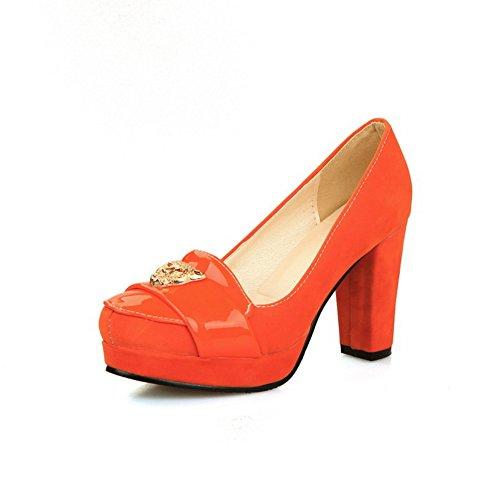 BalaMasa Ladies Charms Chunky Heels Platform Orange Urethane Pumps Shoes - 8 B(M) US]()