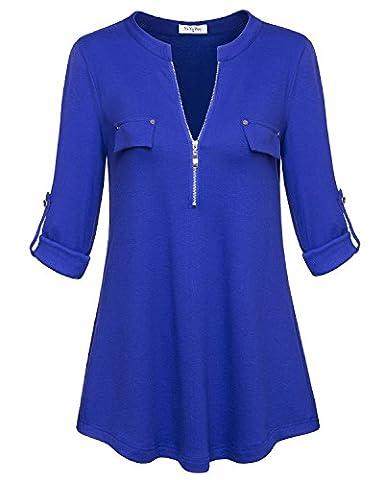 Blue blouses,YaYa Bay Fashion Neckline design Ladies Long Sleeve tunic Blouses XXX Large Blue Zip Up Casual Button down (Fashion Ladies Long Sleeve)