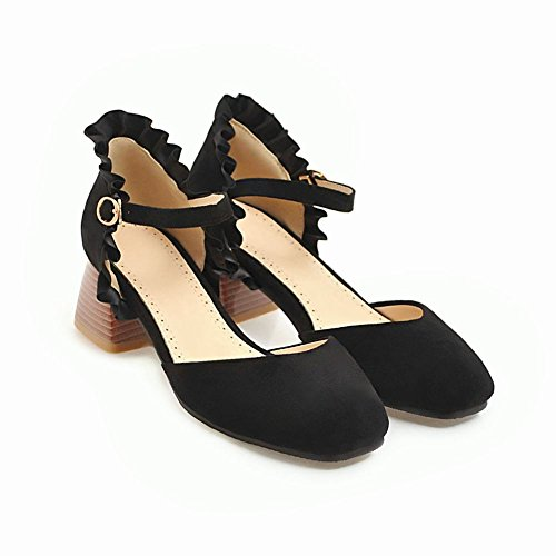 Heel Court Shoes Sweet Block Nero Donna Mee Buckle d1YwIa