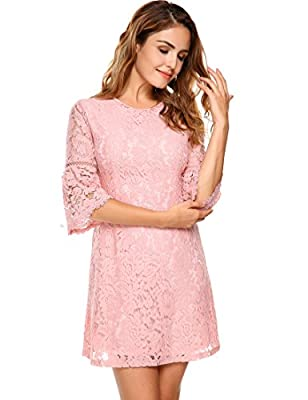 Zeagoo Women's 3/4 Flare Sleeve Floral Lace A-Line Cocktail Party Dress