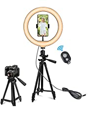 """AccLoo 10"""" Selfie Ring Light with 50"""" Extendable Tripod Stand & Phone Holders, 3 Color Modes and 11 Brightness Ring Light for Makeup YouTube Video Live Streaming, Compatible with iPhone & Android"""