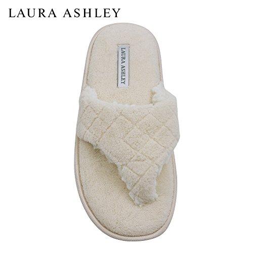 Zapatillas De Tirantes Thong Strap De Laura Ashley Ladies Plush Spa Con Plantilla De Espuma De Memoria Croissant