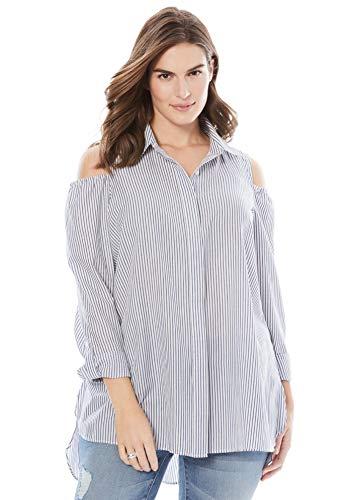 Chelsea Studio Women's Plus Size Button-Front Cold-Shoulder Shirt - Blue White Stripe, 3X