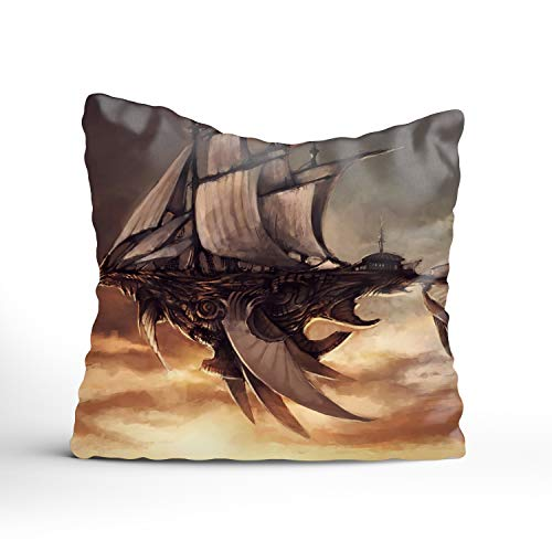 FunnyLife Flying Airship Cushion Cover Cotton Square Decorative Throw Pillow Case 20x20 inch (Cushion Chicago White Sox Seat)
