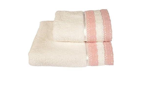 Lara color rosa blanco par de toallas de mano de rayas de encaje Vintage ganchillo 100% algodón Super suave baño pasillos®: Amazon.es: Hogar