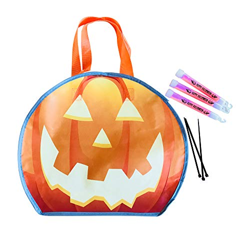 Pumpkin Light Reflecting Trick or Treat Bag Tote with 3 Glow Sticks