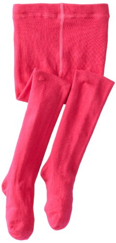 Jefferies Socks Little Girls'  Seamless Organic Cotton Tights, Hot Pink, 6-8 -