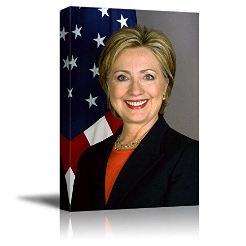 Portrait of Hillary Clinton (2016 Presidential Election Candidate of Democratic Party) - Inspirational Famous People Series | Giclee Print Canvas Wall Art. Ready to Hang - -